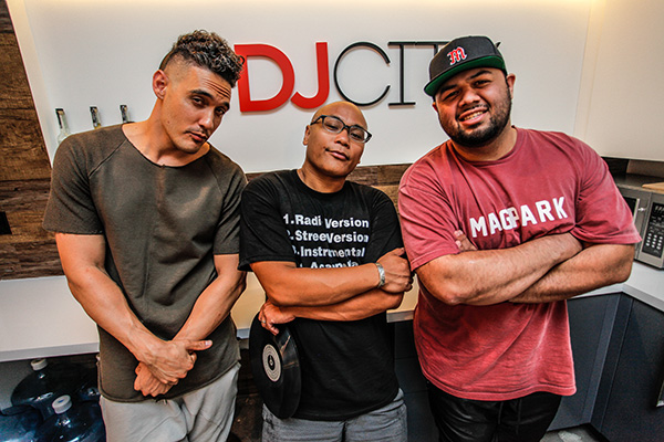 DJ Neil Armstrong with hosts DJ Dainjazone and MikiWAR